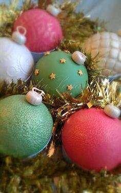 12 Christmas Balls Edible Fondant Cupcake Toppers by YanchaSugarCake on Etsy