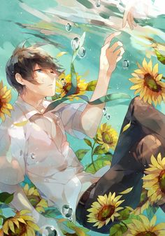 Image shared by 정호석. Find images and videos about boy, anime and flowers on We Heart It - the app to get lost in what you love. Manga Anime, Sad Anime, Anime Love, Manga Art, Anime Demon, Anime Girls, Hot Anime Boy, Oriental, Vocaloid