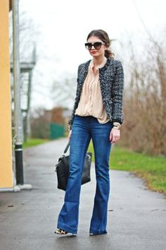 Tweet + seda com jeans. Elegante e moderno!!!!