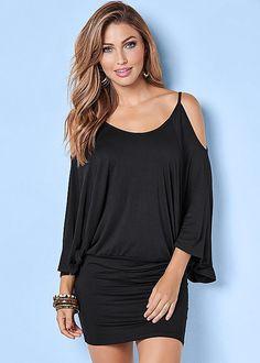Ruching + cold shoulders = summer's perfect dress! Venus cold shoulder dress.