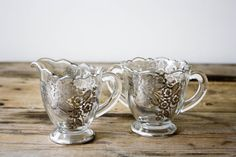 Glass Cream and Sugar Set with Silver Overlay by PineandMain, $28.00