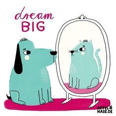 Dream big! #365doodlesmitjohanna Spiegel / mirror #spiegel #mirror #dogs #cats #katzen #hund #dream #dreambig #apfelhase #quote #motivation #illustration #illustrationart #illustrationgram #illustratorsofinstagram #drawing #zeichen #daily #spiegelbild #character #transformation #trans #dreamon #wishes #wünsche #animals #ändern #catsanddogs