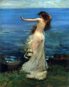 "John Lavery - ""Ariadne"" (1886).  ""In Greek mythology, was the daughter of Minos, King of Crete,[and his queen Pasiphaë, daughter of Helios, the Sun-titan.   Her father put her in charge of the labyrinth where sacrifices were made as part of reparations (either to Poseidon or to Athena, depending on the version of the myth); however, she would later help Theseus in overcoming the Minotaur and saving the would-be sacrificial victims."""