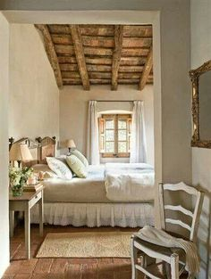 Farmhouse Bedroom Decor Country French Style 34 Ideas For 2019 Warm Bedroom Colors, House Design, Rustic Bedroom Design, Bedroom Colors, Beautiful Bedrooms, Warm Bedroom, Home, Bedroom Design, Home Decor