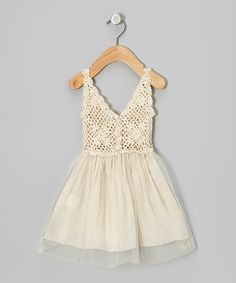 Take a look at this Sweet Chics Couture Cream Tulle Crocheted Dress - Toddler & Girls on zulily today!