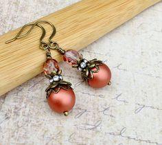 Pink Earrings Bronze Earrings Victorian Earrings Czech