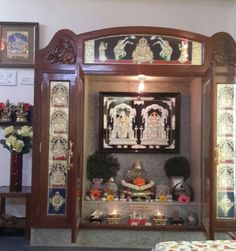 Indian tanjore style puja room Living Room Sofa Design, Living Room Designs, Temple Room, Temple Design For Home, Silver Pooja Items, Pooja Room Door Design, Flat Tv, Puja Room, Tanjore Painting