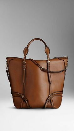 Large Tarnished Trim Leather Tote Bag | Burberry