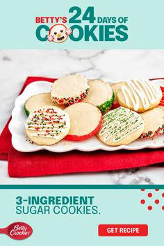 Customize these easy 3-ingredient sugar cookies any way you want with our simple decorating variations. Shape 3-ingredient sugar cookie dough into a log before chilling it, and you'll be able to slice and decorate it to create something new each time. Buttery, tender and melt-in-your-mouth, this one's a keeper. Pin it now for all the making to come! Sugar Cookie Recipe Easy, Easy Sugar Cookies, Candy Cookies, Holiday Cookies, Holiday Treats, Christmas Treats, Holiday Recipes, Cookie Recipes, Xmas Desserts