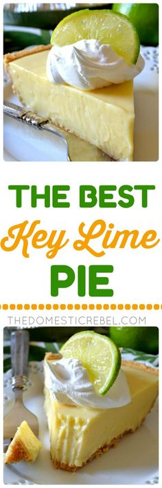 This truly is the BEST Key Lime Pie recipe I have tried! The contrast of the buttery graham cracker crust with the sweet-tart, juicy, creamy Key lime filling is amazing! You'll love this simple pie recipe! ~ The Domestic Rebel Easy Pie Recipes, Lime Recipes, Dessert Recipes, Cooking Recipes, Key Lime Pie Rezept, Just Desserts, Delicious Desserts, Best Key Lime Pie, Keylime Pie Recipe