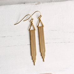 Art Deco Earrings ... Chrysler Brass Vintage by SilkPurseSowsEar, £9.00