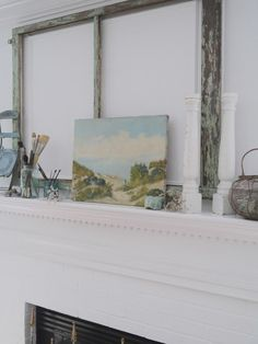 Vintage Coastal Cottage Style Summer Mantel