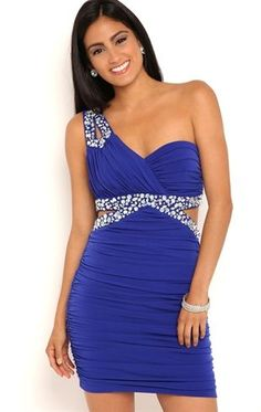 High Low Prom Dresses 2018 One Shoulder Short Homecoming Dress with Stone Keyhole Strap