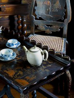 Britain National Trust Properties. A Chinese white porcelain teapot,  c.1650-70, at Ham House, Surrey