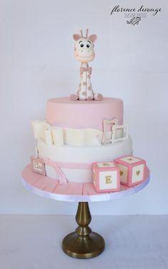 Giraffe Christening Cake - Cake by Florence Devouge