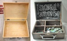 Aged Wooden Chalkboard Display Box