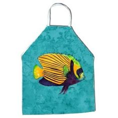 Tropical Fish design bib apron that measures 27 inches high and 31 inches wide. This large sized apron is made of 100% Ultra Spun polyester fabric that is fade and stain resistant. The apron has white braided tie straps and a sewn cloth neckband. Machine washable. Made in the USA. Caroline's Treasures 8674APRON Fish Tropical …