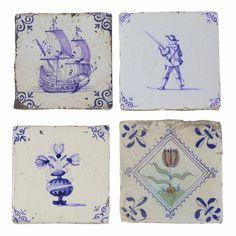 Dutch delft tiles - mostly / century Delft Tiles, Mosaic Tiles, Wall Tiles, New Blue, Blue And White, Aztec Home Decor, Antique Tiles, Handmade Tiles, Decorative Tile