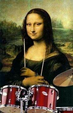 Mona Lisa with a drum set Drums Girl, La Madone, Mona Lisa Parody, Mona Lisa Smile, Frida Art, How To Play Drums, Photocollage, Drum Kits, Artwork