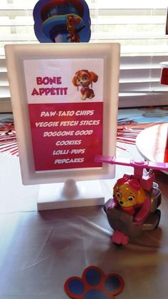 Paw Patrol party food sign