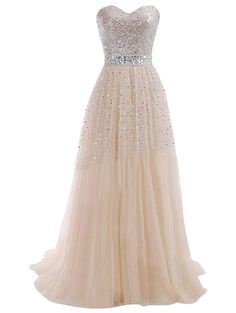 Tidetell 2015 Sweetheart Bridesmaid Long Tulle Evening Party Prom Gowns with Sequins => Insider's special review you can't miss. Read more  : formal dresses