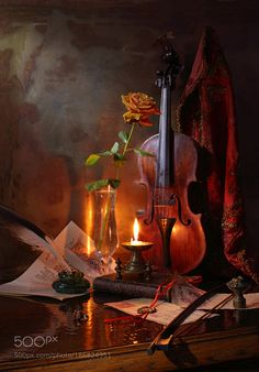 Still life with violin candle and rose by tireur3000