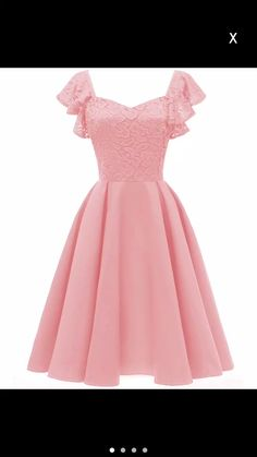 Women Ruffle Sleeve Floral Lace Dress Woman Diamond Neck Retro Vintage Swing Dress Skater Formal Party Dress Pink Wine Navy Color Pink Size S Elegant Dresses, Casual Dresses For Women, Pretty Dresses, Beautiful Dresses, Short Dresses, Formal Dresses, Cute Dresses For Teens, Maxi Dresses, Beach Dresses