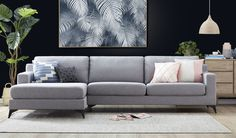When size really does matter. This large 3 seater sofa with chaise in a light grey fabric with not disappoint Sofa Lounge, Grey Lounge, Interior Rugs, Interior Design Living Room, Small Living Rooms, Home And Living, Fabric Sofa, Grey Fabric, Lounge Suites
