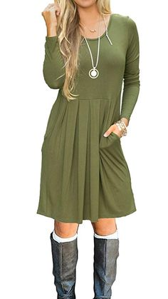 AUSELILY Women's Long Sleeve Pleated Loose Swing Casual Dress with Pockets Knee Length Rayon SpandexSuper Soft and Comfortable.Breathable and great to wear all dayUS Standard Size:X-Small/US 4 Small/US Plus Size Maxi Dresses, Casual Dresses, Short Sleeve Dresses, Long Sleeve, Fall Dresses, Dresses Dresses, Dresses Online, Summer Dresses, Womens Long Shorts