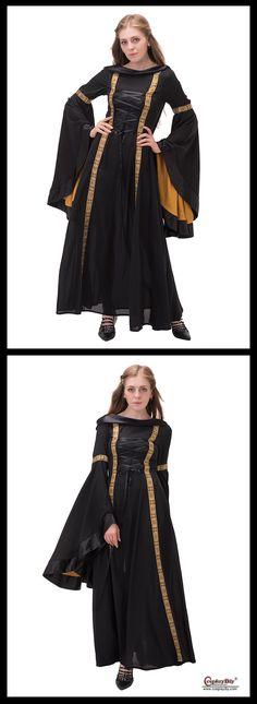 Cosplaydiy Hooded Medieval/ Renaissance Dresses Mystery Black Women's Costume