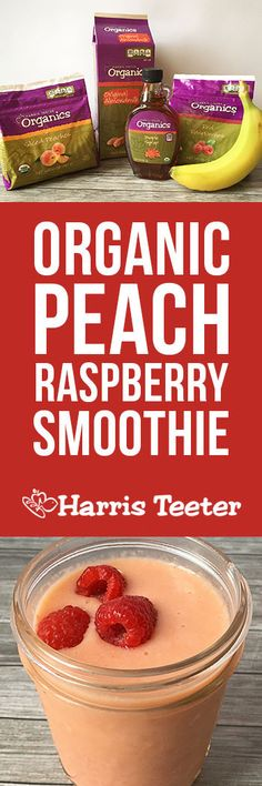 Peach + Raspberry = YUM! This smoothie is delicious and organic, with a secret ingredient for sweetness.