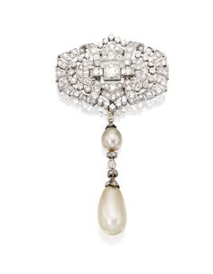 DIAMOND BROOCH AND NATURAL PEARL AND DIAMOND PENDANT. The brooch of openwork design set with numerous old European, single-cut and baguette diamonds mounted in platinum, with Hungarian assay marks, circa 1935; together with a pendant suspending two natural pearl drops measuring accented by old mine and rose-cut diamonds mounted in platinum, gold and silver, circa 1900.