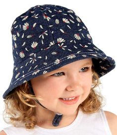 Baby Bucket Hat - Grace Print with Strap - Denim. Available in 3 sizes from birth. Rated UPF50+ Excellent Protection. http://www.bedheadhats.com.au/grace-print-baby-bucket-hat-with-strap-denim