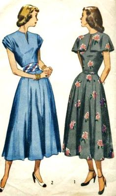 1940s Misses Dress Vintage Sewing Pattern, Simplicity 2501. I just love the sleeve detail.