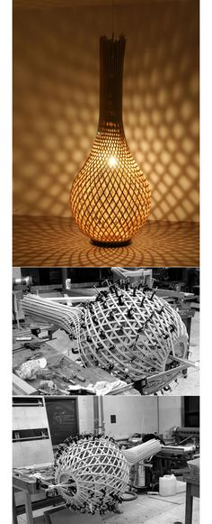 This is one of those strange scale photos that looks like a huge construction site with tiny little workmen :-) Bae Se-hwa process design of wooden lamp Lampe Laser, Lampe 3d, Lamp Design, Wood Design, Design Design, Interior Lighting, Lighting Design, Walnut Chair, Diy Home Decor Rustic