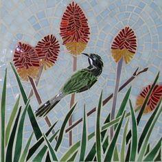 This mosaic features native Australian bird the the blue faced Honeyeaters. Mosaic Garden Art, Mosaic Tile Art, Mosaic Birds, Mosaic Flowers, Mosaic Crafts, Mosaic Projects, Mosaic Rocks, Stone Mosaic, Mosaic Glass