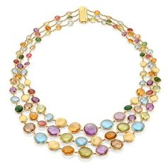 Marco Bicego Jaipur Semi-Precious Multi-Stone Necklace ($15,100) ❤ liked on Polyvore featuring jewelry, necklaces, multi, semi precious jewellery, semi precious stone jewelry, semi precious necklace, yellow jewelry and multi stone necklace