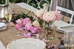 FRENCH COUNTRY COTTAGE~ Coffee sack table runner and peonies