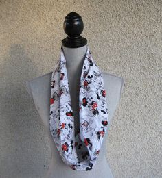 Fabric scarf, Infinity scarf, tube scarf, eternity scarf, loop scarf, short scarf, girls scarf, Mickey Mouse scarf