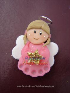 Angelitos de porcelana fría - Apliques para souvenirs. Consultame por este u otros modelos en www.facebook.com/RainbowCreaciones