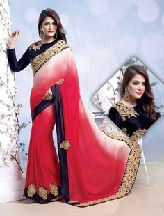 Add grace and charm to your look in this appealing off white & red chiffon, satin saree. Beautified with patch work,resham, stones work all synchronized properly through the design and design of the attire. Indian Designer Sarees, Latest Designer Sarees, Latest Sarees, Off White Saree, Sarees Online India, Satin Saree, Sari, Saree Shopping, Red Chiffon