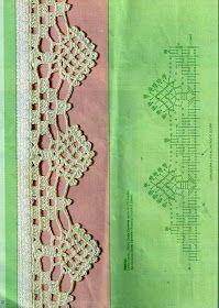 Tecendo Artes em Crochet: Uma Seleção de Barradinhos Lindos para Vocês! Crochet Boarders, Crochet Lace Edging, Crochet Diagram, Thread Crochet, Crochet Trim, Crochet Crafts, Crochet Doilies, Crochet Stitches, Crochet Projects
