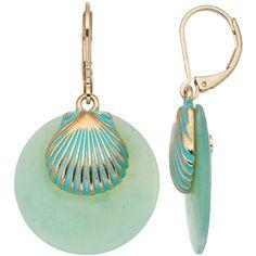 Dana Buchman Aqua Seashell Drop Earrings ($13) ❤ liked on Polyvore featuring jewelry, earrings, shell charm, earring charms, nautical charms, sea shell jewelry and sea shell charms