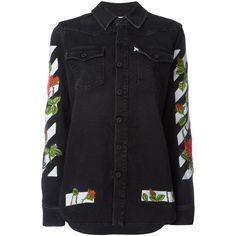Off White Diag Roses Denim Shirt ($535) ❤ liked on Polyvore featuring tops, denim blue, vintage denim shirt, vintage shirts, rose shirt, shirt top and embroidered shirts