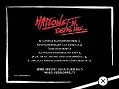 Halloween Menue Speisekarte Halloween Party Chucky, Dracula, Godzilla, Halloween Party, Events, Movie Posters, Roast Beef, Food Menu, Cards