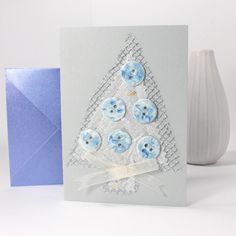 Christmas card with ceramic handmade buttons, by judesDesigns