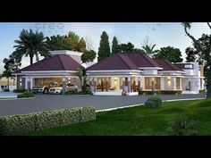 Latest House Design in Kerala Modern Bungalow House Design, Single Floor House Design, 4 Bedroom House Plans, Dream House Plans, House Rooms, Kerala Traditional House, One Storey House, African House, House Design Pictures