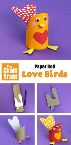 Cute and easy paper roll lovebird craft for kids. This is a fun recycling craft for kids to make for Valentines Day #lovebird #kidscraft #valentinesday #valentinesdaycraftforkids #craftsforkids #kidsvalentinesday #paperrollcrafts #toiletrollcrafts #upcyclingideas Animal Crafts For Kids, Crafts For Kids To Make, Creative Activities For Kids, Creative Kids, Bird Crafts, Recycled Crafts, Paper Roll Crafts, Business For Kids, Party