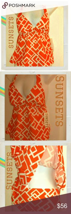 Sunsets 2-piece halterkini BNWT orange Resort wear Get a jump start on your resortwear, look stunning at the gym pool, or if you're lucky enough to live where it's still beach weather, pop it on this week and dive in! Brand new with tags sophisticated yet fun orange and white zigzag pattern. Halter ties at neck. Forgiving but stylish A-line style flares away and diminishes any extra tummy you'd like to hide. Soft cups. 82% nylon, 18% spandex. You're already imagining yourself in this, aren't…