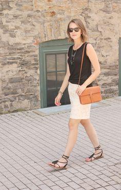 Lace skirt - black top - black sandals